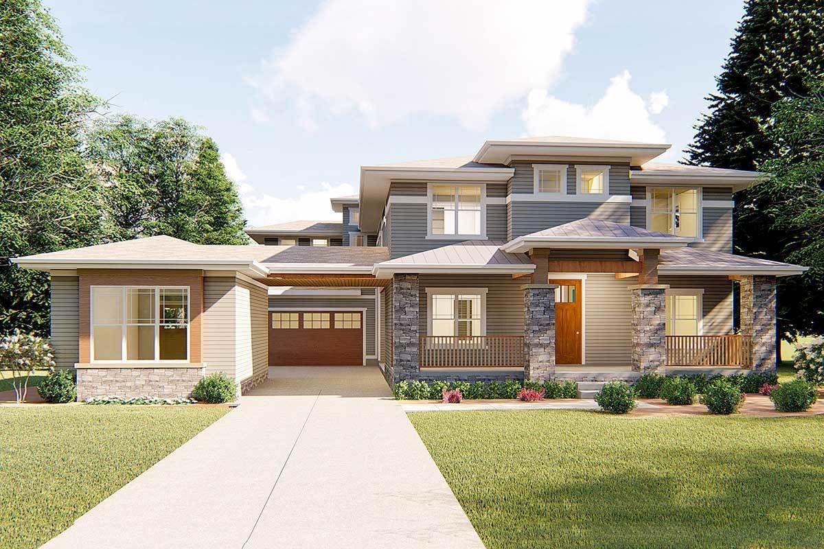 Plan 62561dj Prairie Style House Plan With Porte Cochere Prairie Style Houses Unique House Plans Prairie House