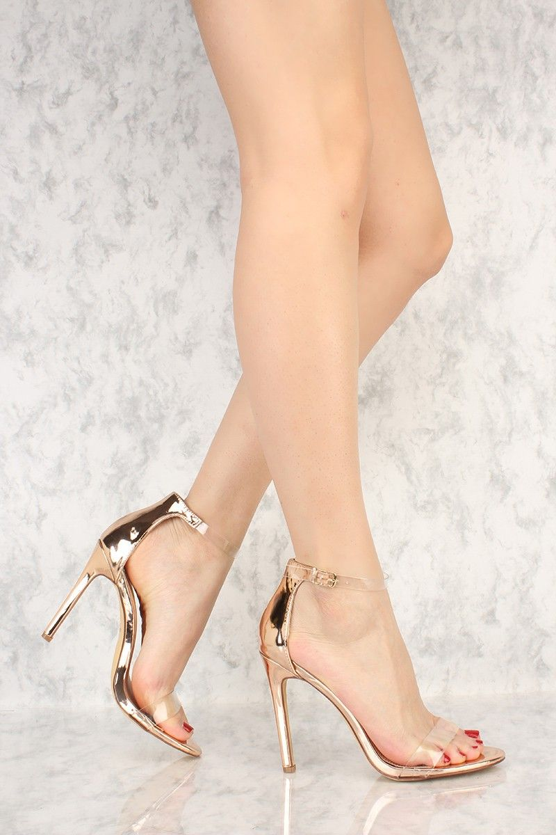 81f886e800b Rose Gold Clear Strap Open Toe Single Sole High Heel Patent | Heels ...