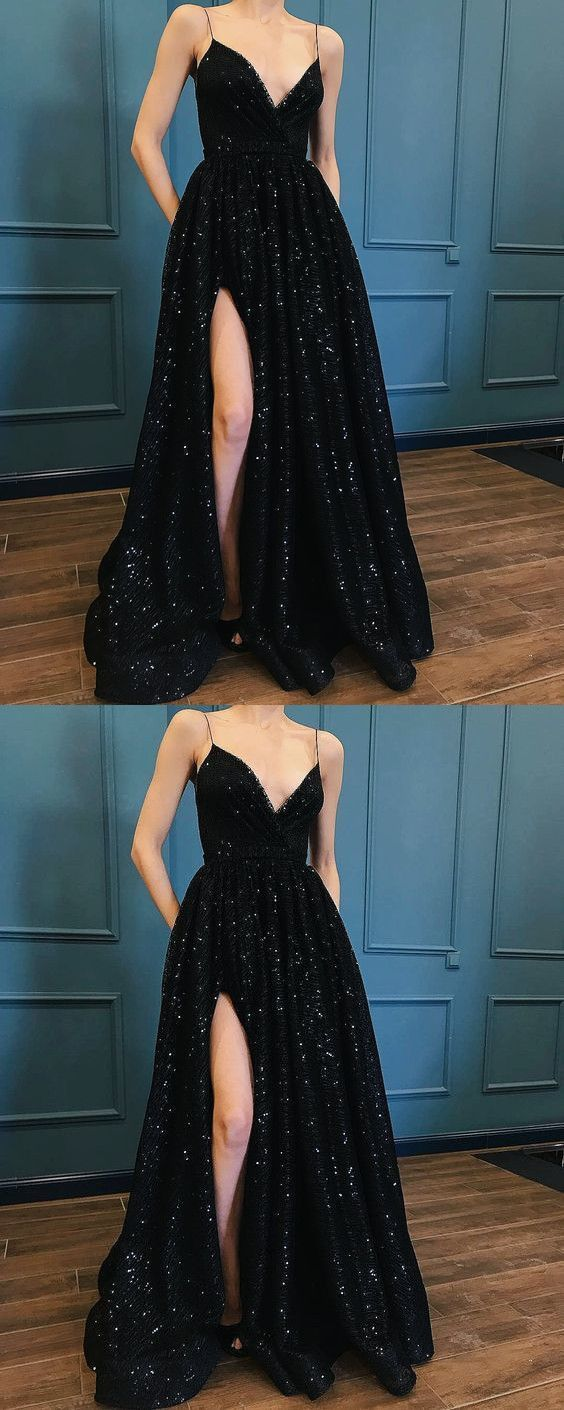 Fashion luxury black sequins lace prom dress special occasions