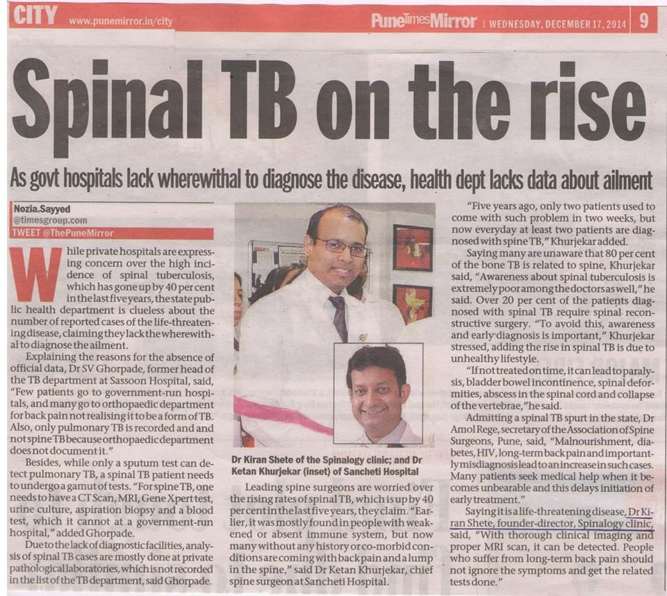 Media: Read about Spinal TB in today's Pune Mirror. Interview of Dr. Kiran Shete is published in the same.  #SpinalHealth #SpineCare