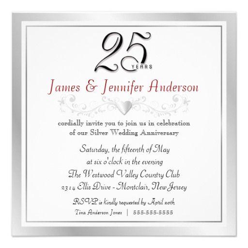 25th Wedding Anniversary Party Invitations Zazzle Com