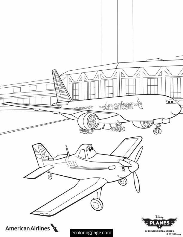 Disney Planes Dusty And Boeing 737 Jumbo Jet Airplane Coloring