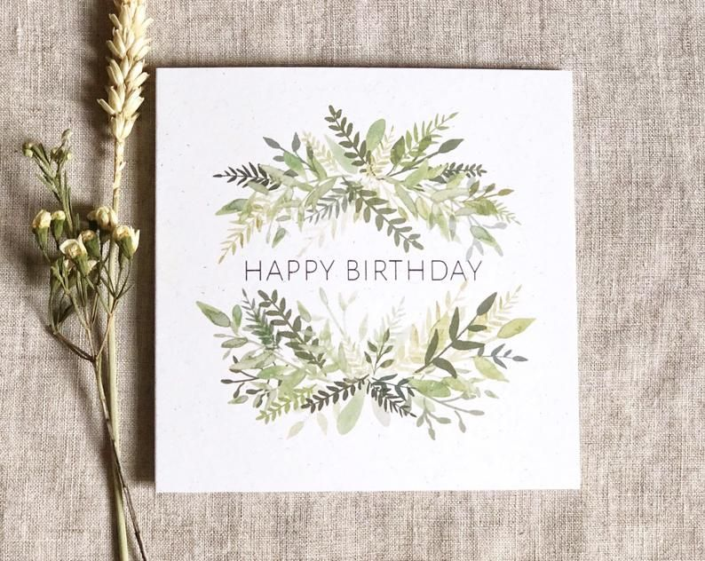 Pack of 4 happy birthday greeting cards floral botanical
