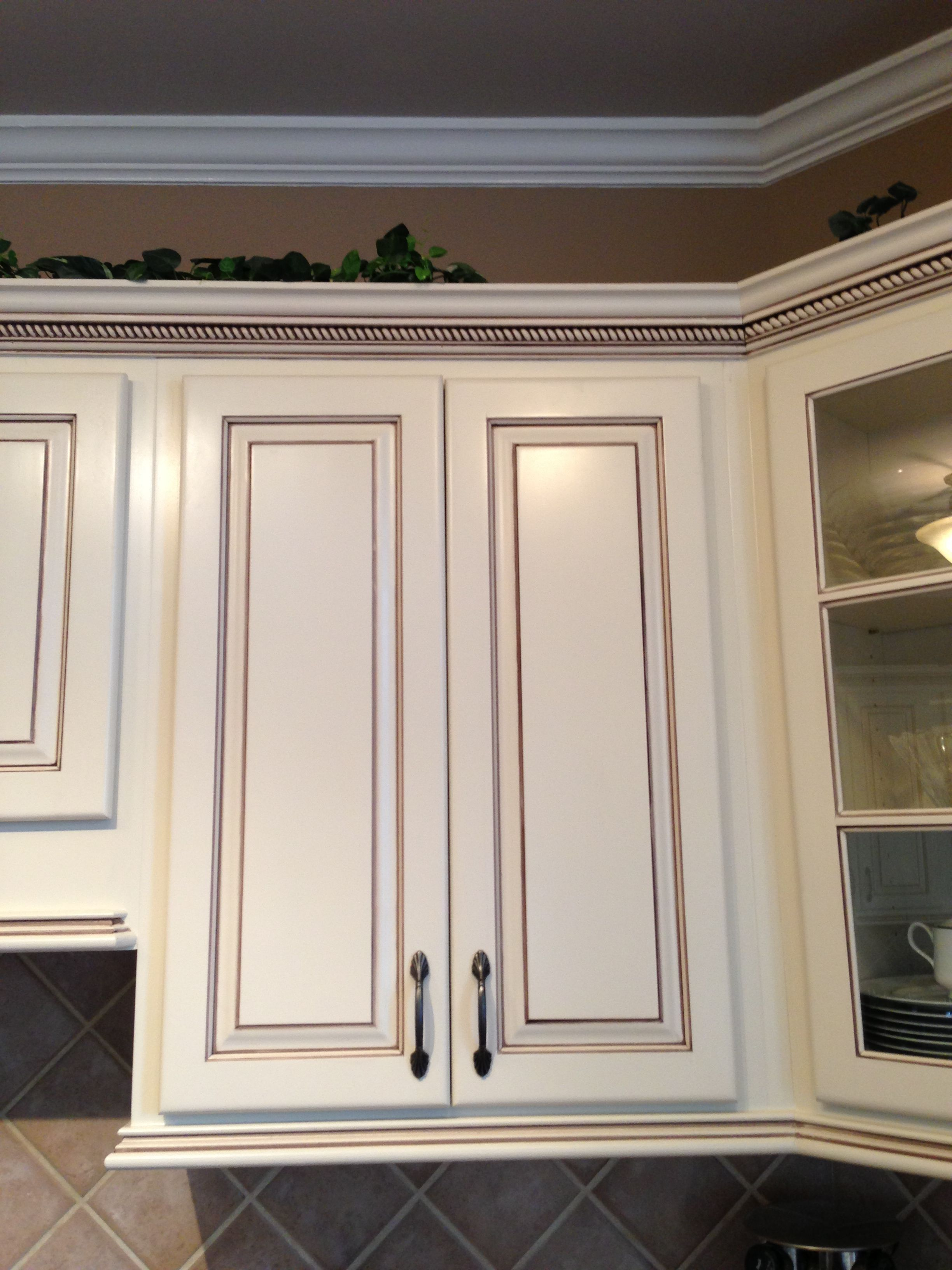Painted Maple Cabinets Antique White/almond; Added Light Rail At The Bottom  And Rope Crown Moulding At The Top; Chocolate Brown Pen Glaze (Faux To  Finish); ...