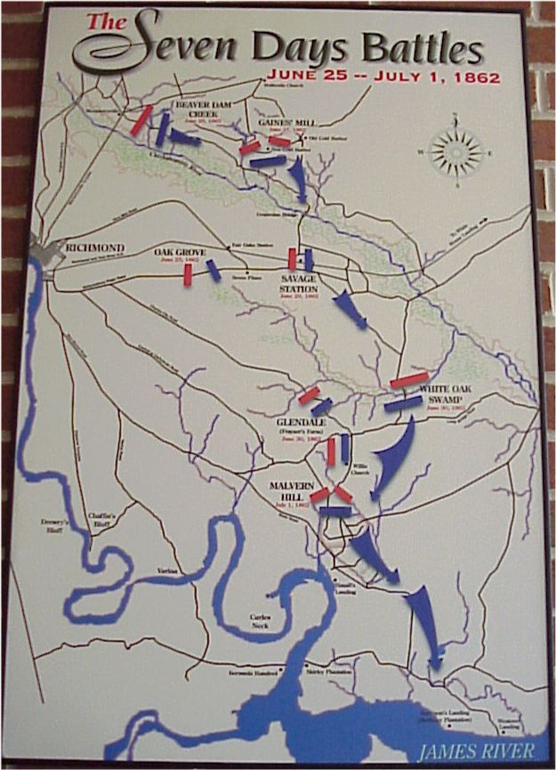 Seven Days Battles Map Civil War Virginiajpg
