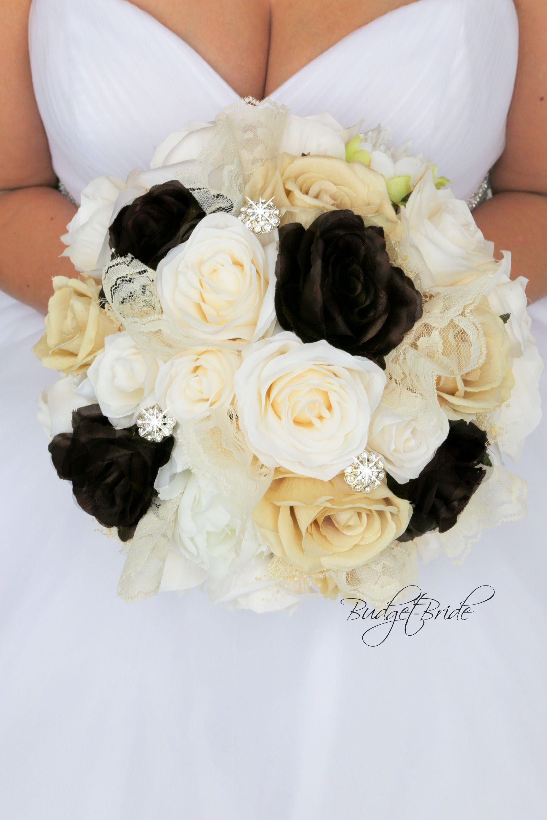 Davids Bridal Truffle Wedding Bouquet vintage lace ideas ivory brown ...