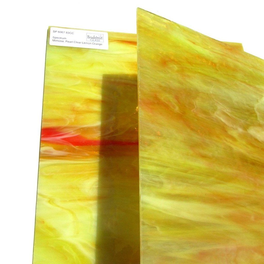 COE 96 Pearl Opal MIMOSA OrangeYellowWhiteClear Fusible Stained Glass
