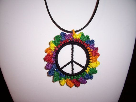 Rainbow Flower Crochet Peace Sign Necklace By Magicktheatregallery