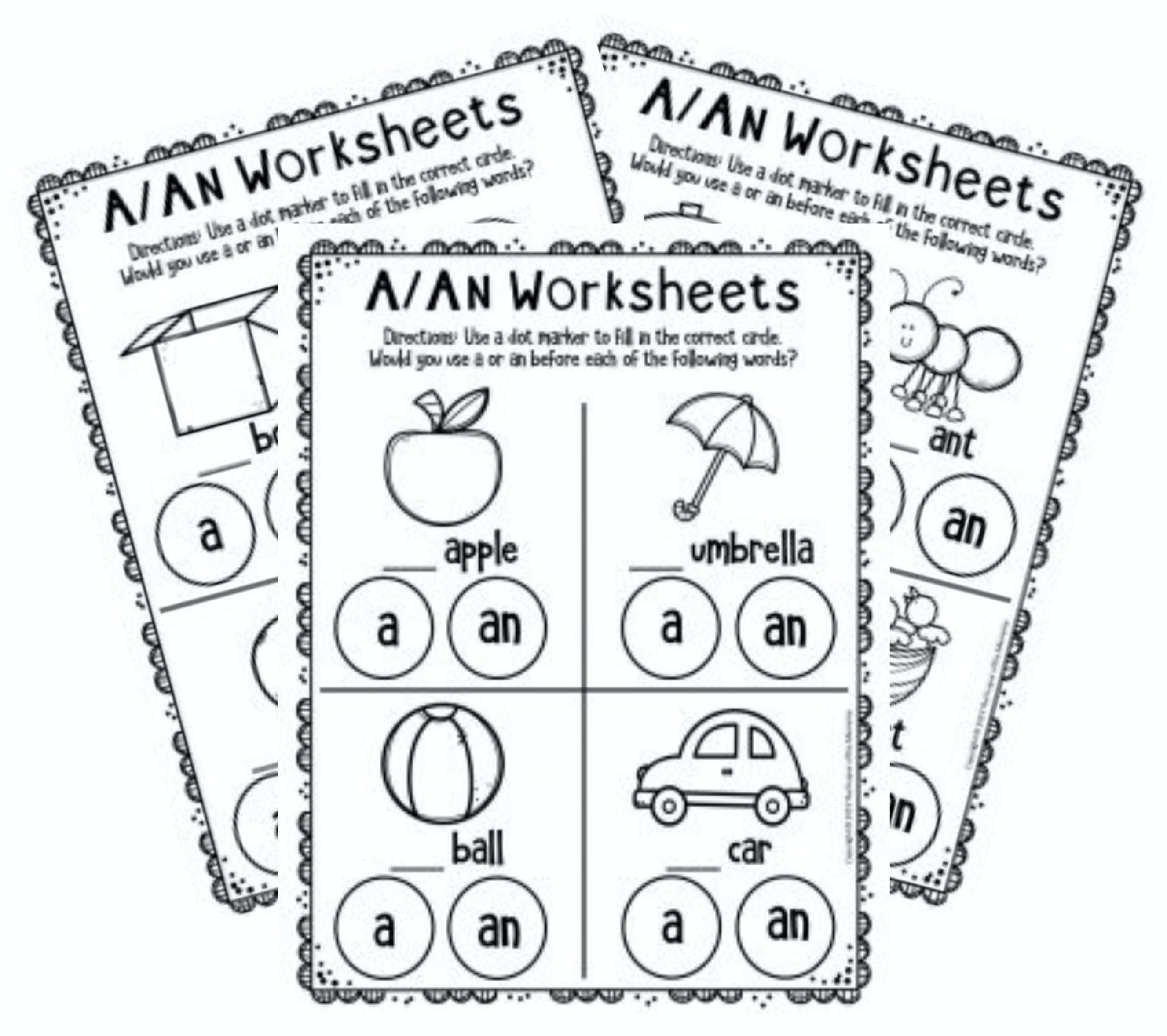 Free Printable A Amp An Worksheets For Kindergarten In