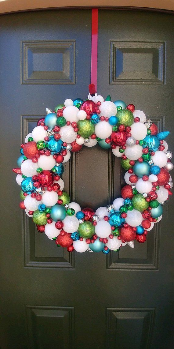 Gorgeous Red, White, Silver, Teal Blue, and Lime Green Ornament Christmas Wreath! Bauble wreath! Holiday Wreath! #baublewreath