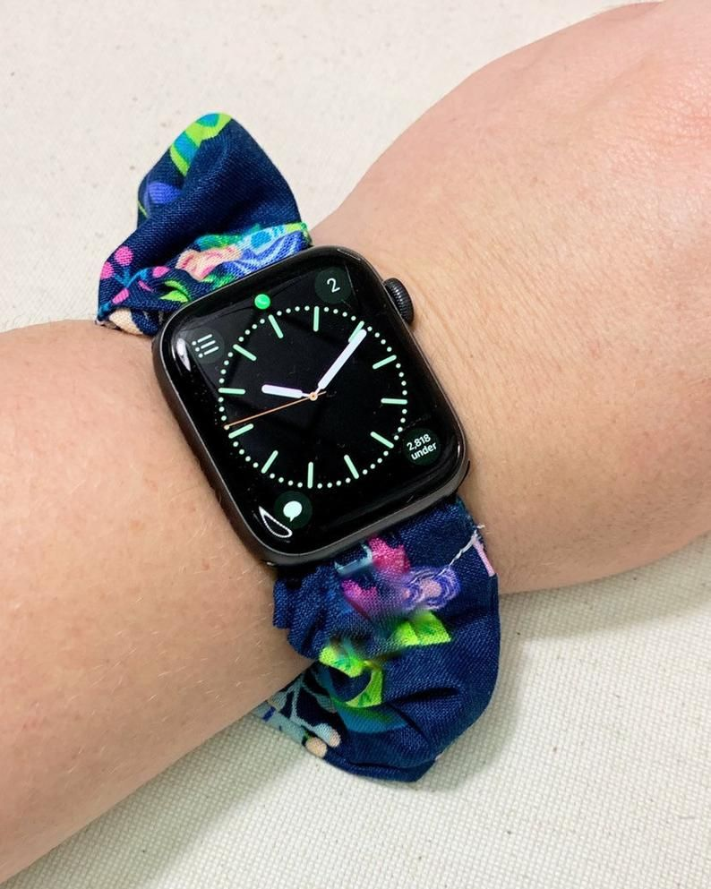 Navy Blue and Neon Floral, Flower Watch Scrunchie Band