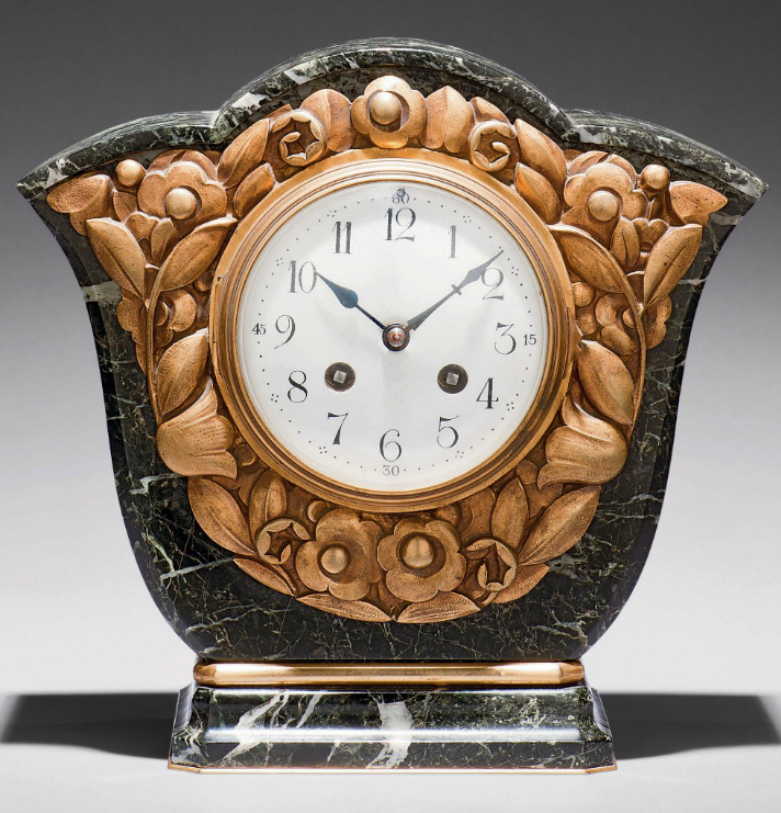 A BRASS AND MARBLE TABLE CLOCK, FRENCH, CIRCA 1920