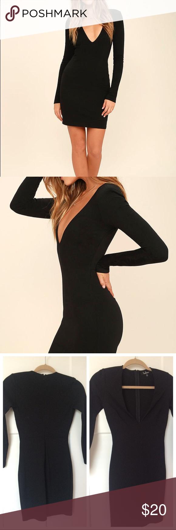 Lulus fun u fame black long sleeve dress