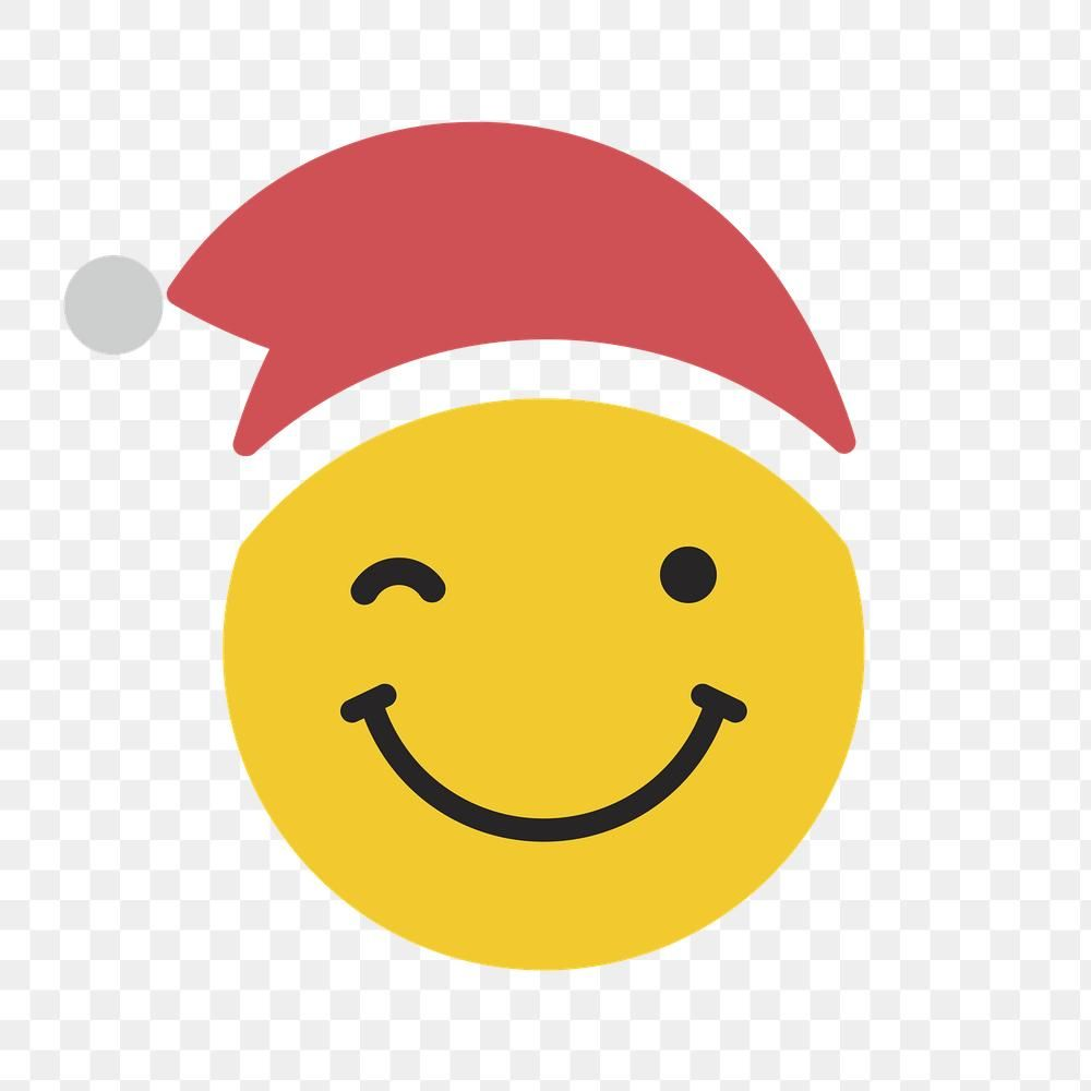 Download Premium Png Of Round Yellow Santa With Winking Face Emoticon On Vector Background Pattern Hand Sticker Emoticon