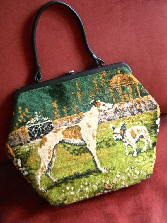 Velvet Tapestry Handbag, Green & Gold, Dogs and People, Vintage
