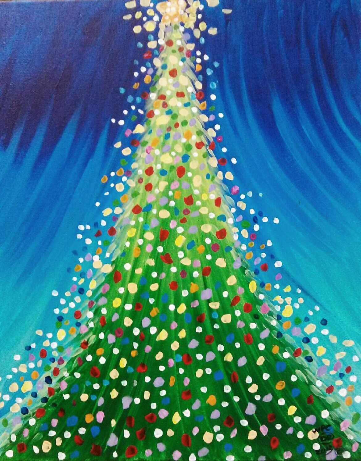 christmas tree eiffel tower wine paint create hope