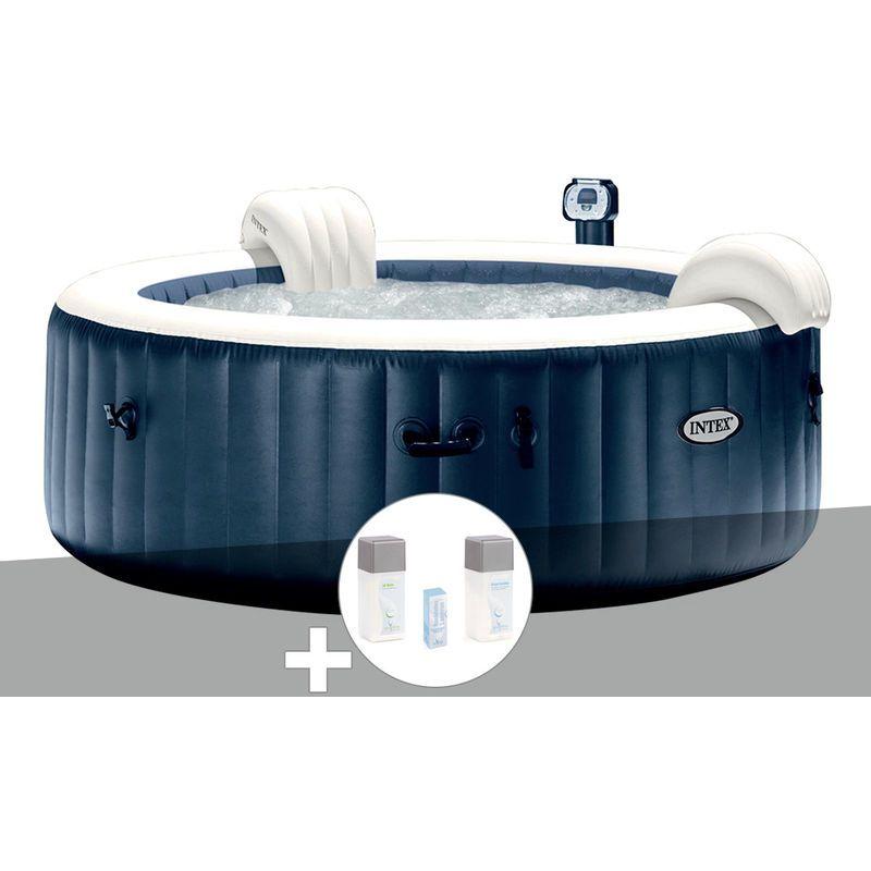 Kit Spa Gonflable Intex Purespa Rond Bulles 6 Places Bleu Nuit Led Kit Traitement Brome 28410ex Kitspa Spa Tub Led
