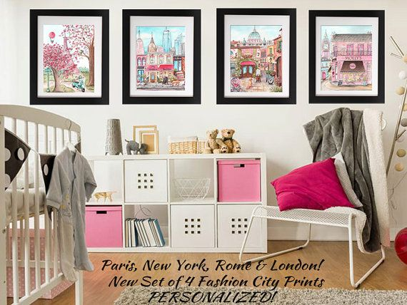 Paris london rome new york travel theme nursery personalized baby new york city art poster for girls travel themed bedroom nyc personalized baby gift new york skyline fashion city wall decor 6 sizes negle Image collections
