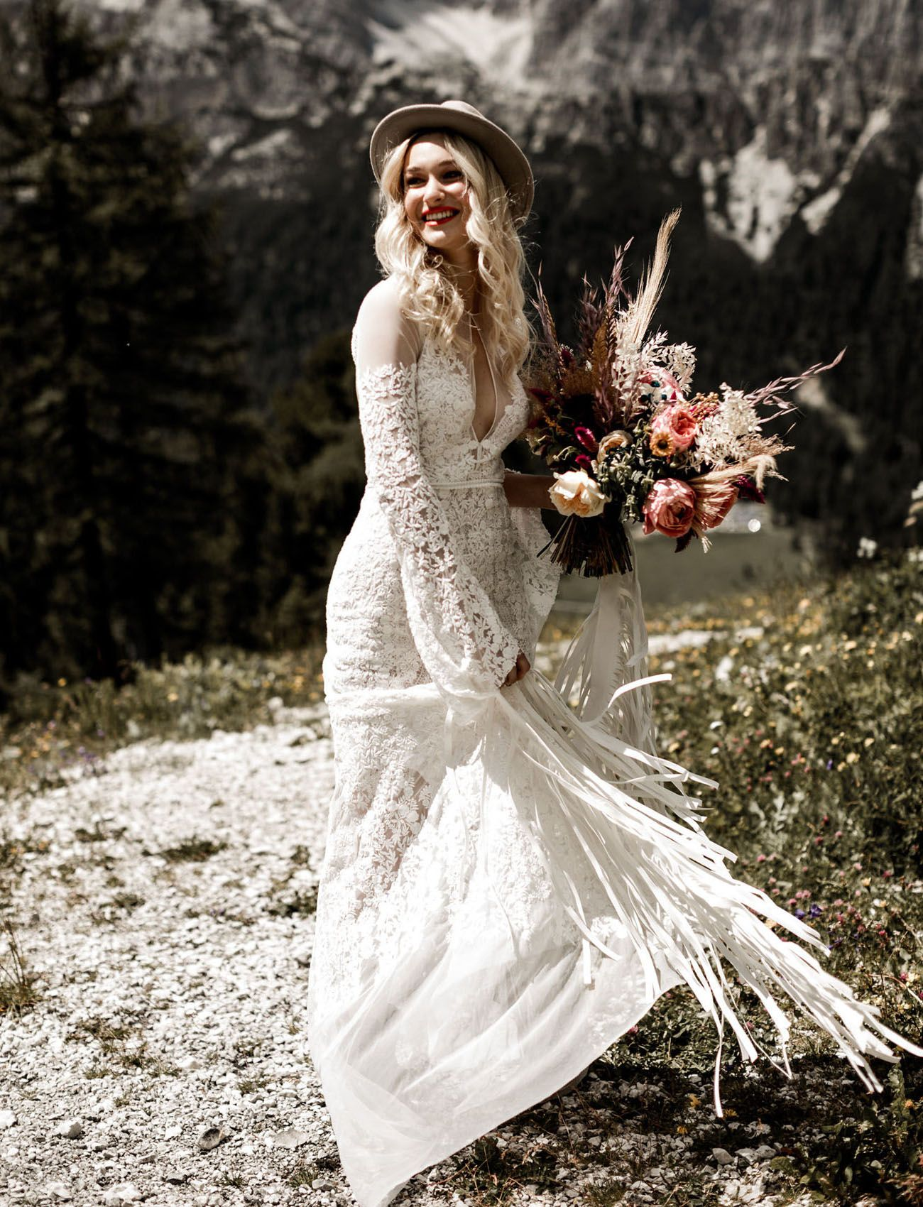 Wild free summertime elopement in the italian dolomites bohemian