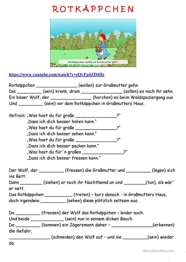 Rotkäppchen | Deutsch | Pinterest | German language, Worksheets and ...