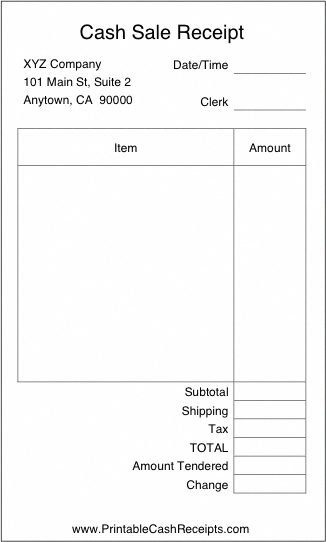 A Basic Airy Cash Receipt With Plenty Of Room To Write In Details Of The Purchase It Is Ideal For Reta Invoice Template Word Receipt Template Label Templates