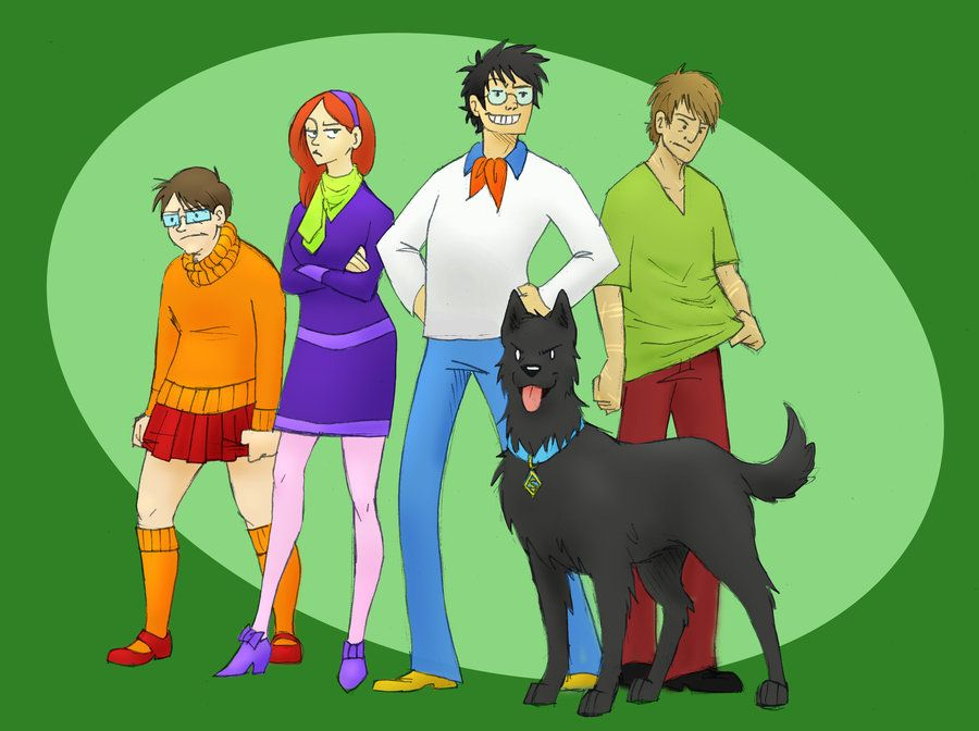 The marauders as the Scooby Doo gang (Peter is Velma, Lily
