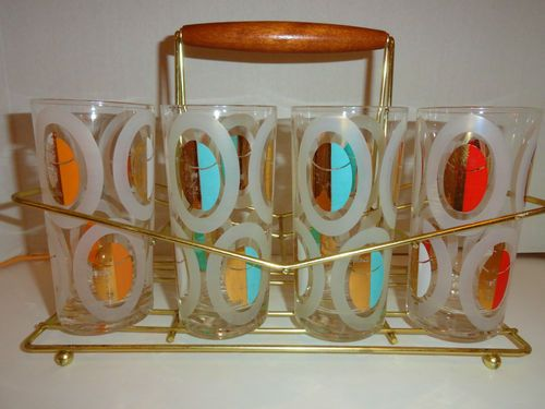Elegant VTG MID Century Modern Swanky FRED PRESS Glasses Polka Dot Gold Barware  Rock 4ct