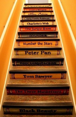 a staircase of classic books