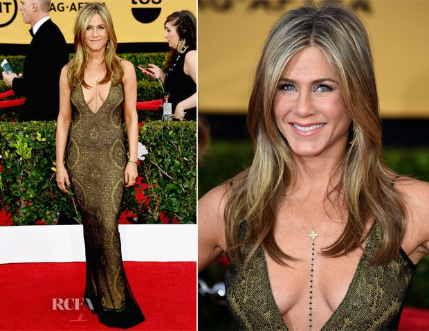 Jennifer Aniston in a sexy vintage Galliano gown with Amrit's Make Love Body Chain, studded with 29 black diamonds that touch 'the heart chakra' and boasting solid 14K lotus pendants engraved with the 'Hu' symbol. SAG Awards.