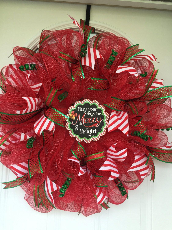 Christmas wreath, mesh Christmas wreath, outdoor door wreath, Christmas decorations, outdoor Christmas wreath, door hanging, door wreath by ritzywreaths on Etsy