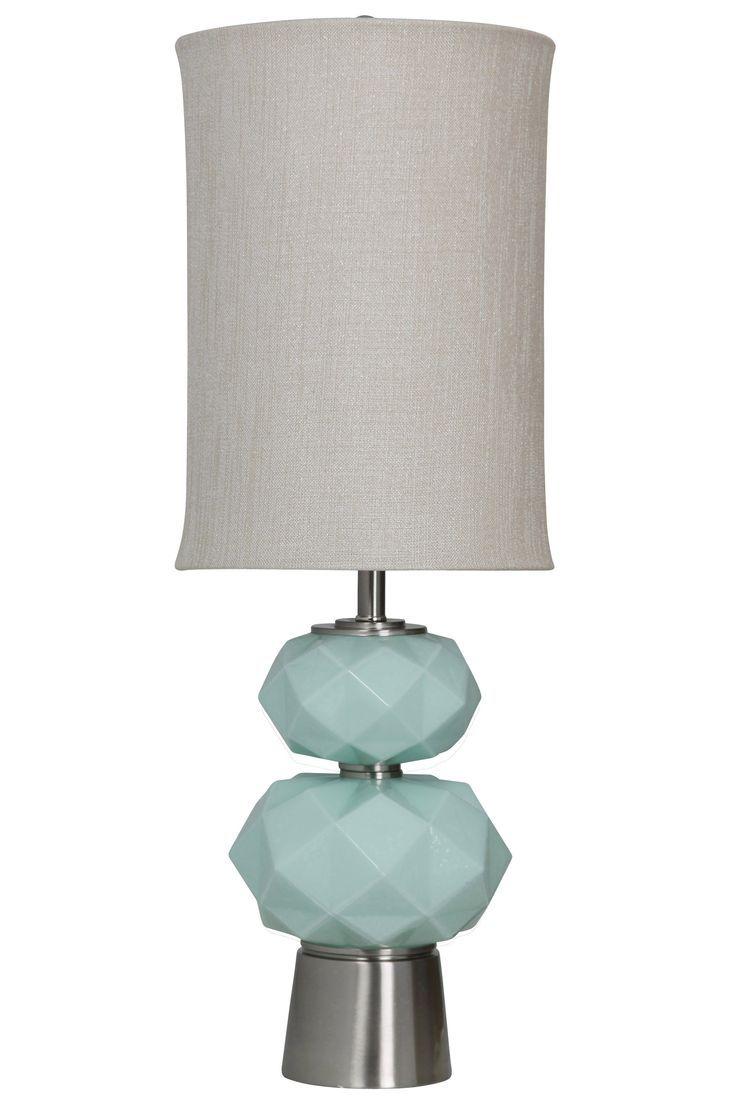 HARP U0026 FINIAL SAVANNAH TABLE LAMP Sky Blue Finish On Glass Body With  Brushed Nickel Metal