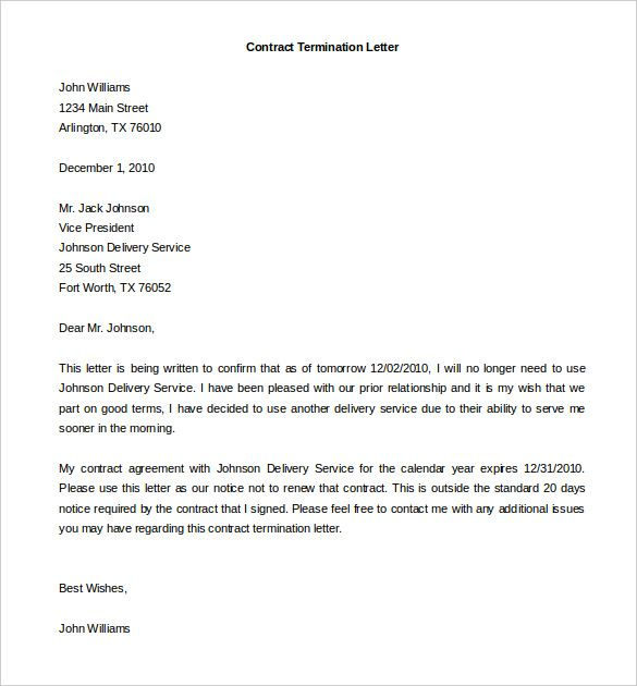 Termination Services Contract Letter Template Download Free Sample