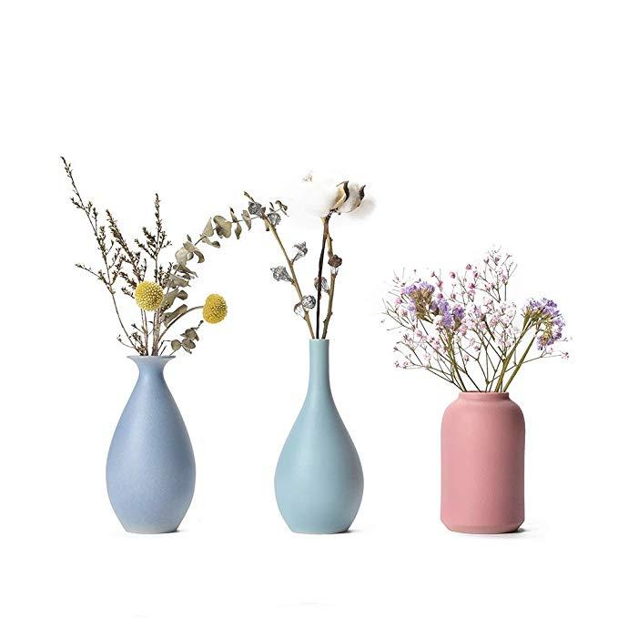 Amazon Com Colorful Ceramic Flower Vase Set Of 3 Elegant Decorative Flower Vase For Home Decor Living In 2020 Flower Vases Decoration Flower Vases Flower Decorations