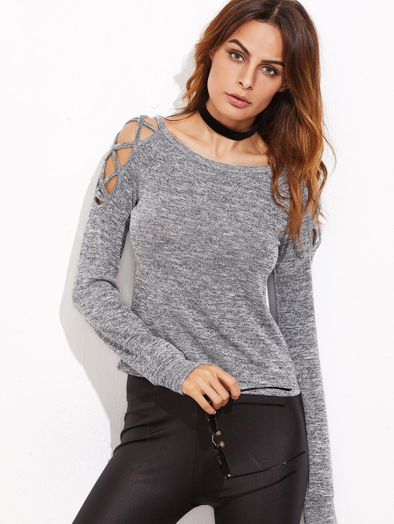 953f6bb951 Grey Marled Crisscross Open Shoulder T-shirt   MakeMeChic.COM Mobile Site