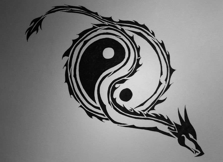 Tribal Yin Yang Dragon By Nothing4free On Deviantart Yin Yang Tattoos Yin Yang Art Dragon Tattoo