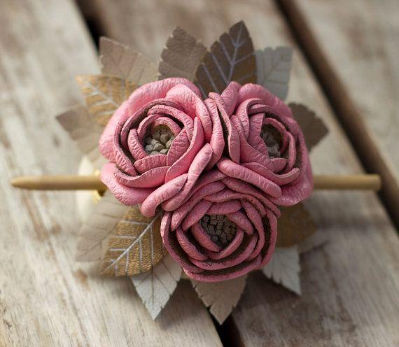 Pink leather stick barrette