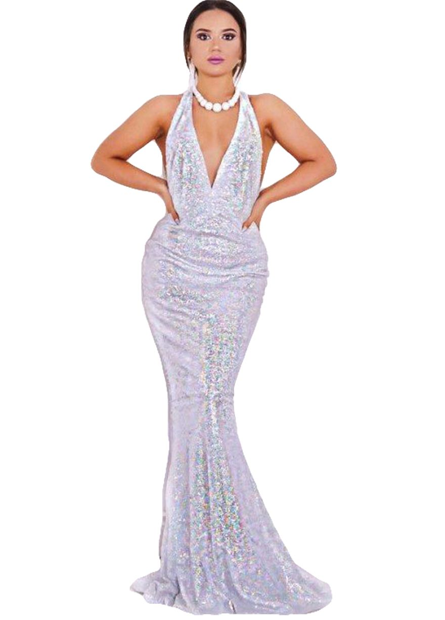 7cfc0a4c842 Elegant Daring Back Sequins Fishtail Party Dress Evening Dress Dresses Sexy  Lingeire
