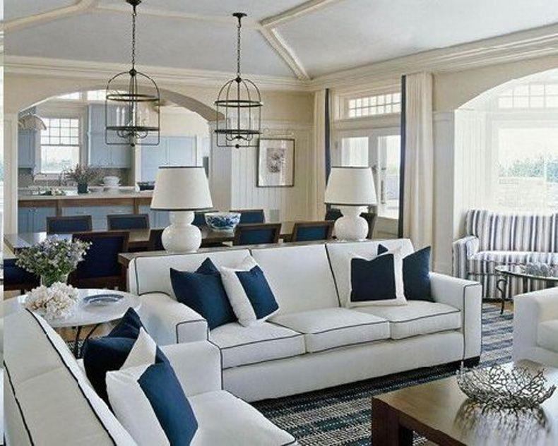blue and white coastal living room blue