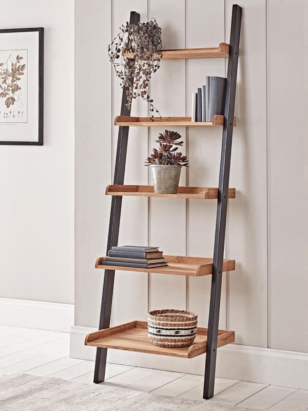 How To Make A Ladder Shelving Unit In 2020 Oak Ladder Shelf Ladder Shelf Decor