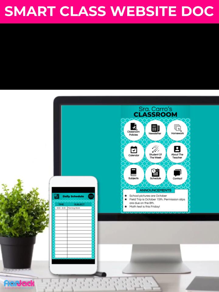 quatrefoil teal smart class website doc google slides style