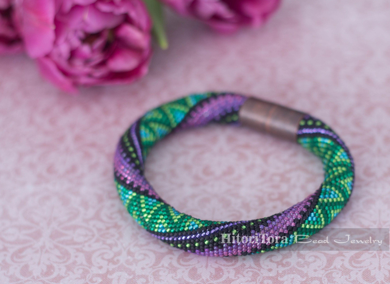 Beaded crochet bracelet - Seed beads rope - Green Purple ...