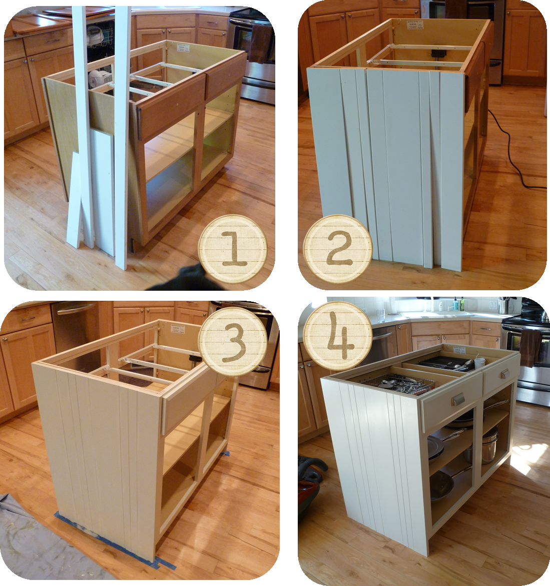Homemade Kitchen Island · DIY Kitchen Island Ideas | Honestly . .  Terracotta Orange And Green Laminate . . Was