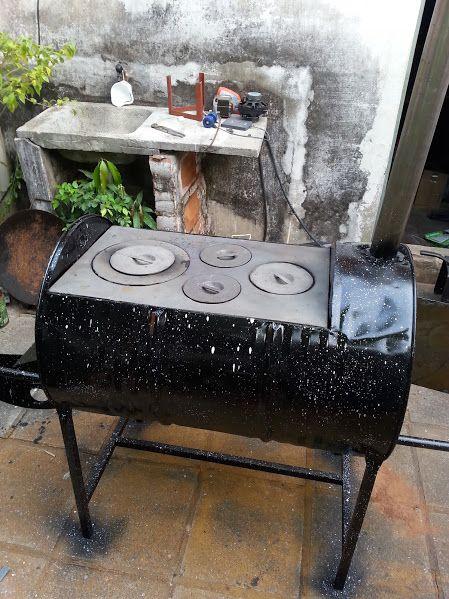 Cocina a le a con horno hecho de tambor ideas para el - Como hacer una cocina de lena ...