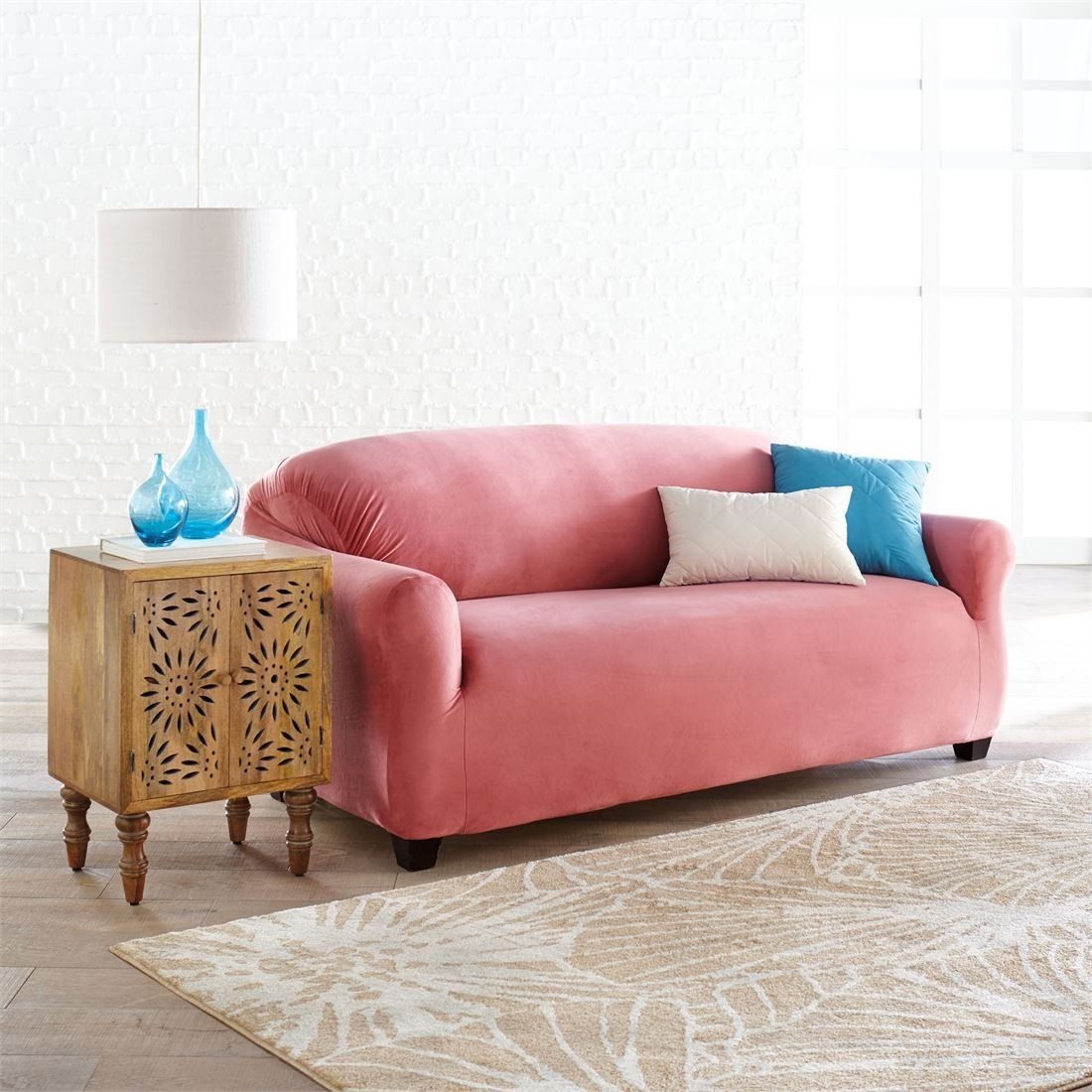 Stretch Velvet Extralong Sofa Slipcover