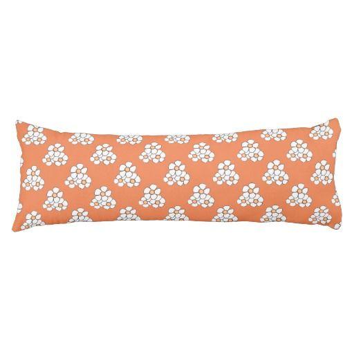 Orange Centered Daisy Body Pillow