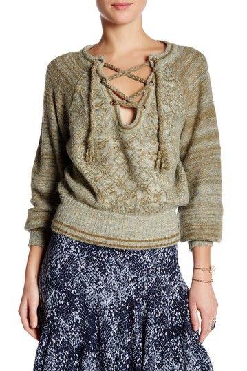 Image of Free People Split V-Neck Lace-Up Sweater