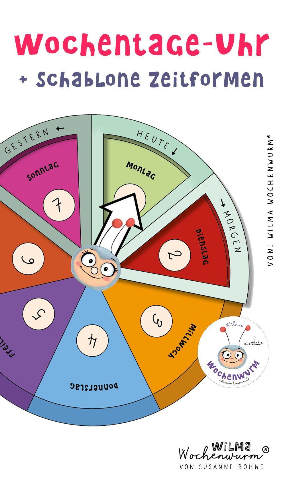 Wochentage Uhr von Wilma Wochenwurm. Zum Selberbasteln. Eine PDF Vorlage - Geschichten für Kinder mit Wilma