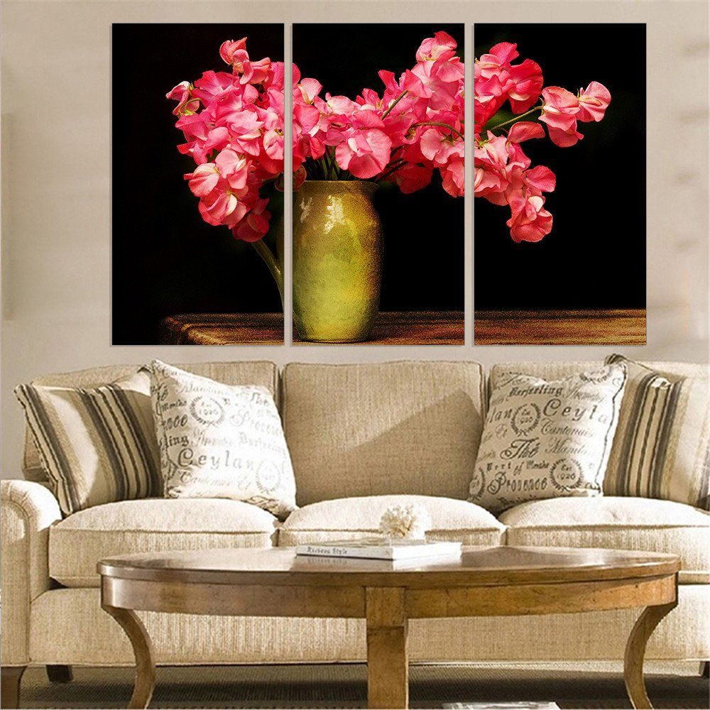 Modern Wall Decor Unframed Red Flower On Vase Canvas Painting Home Decoration Oil