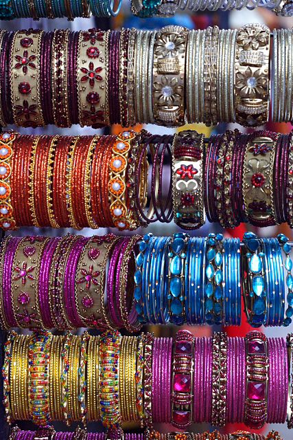 Handmade bangles from an Indian market. Intricate design and colour is integral to Indian-inspired decor.