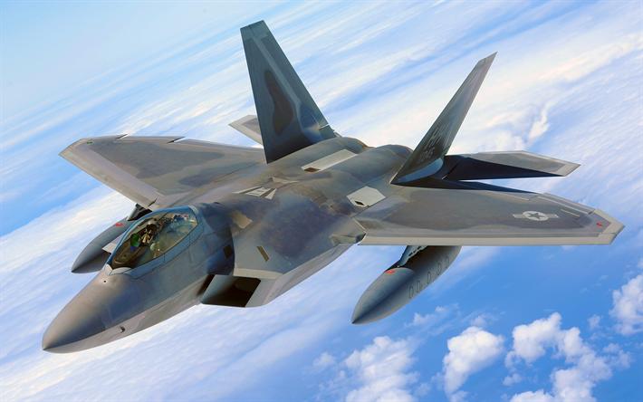 Download Wallpapers Lockheed Boeing F 22 Raptor 4k Highter 5th Generation American Air Force F 22 Raptor Combat Aircraft Besthqwallpapers Com Cacas Lutador Imagens De Aviao